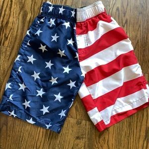 Boys American flag swimming trunks